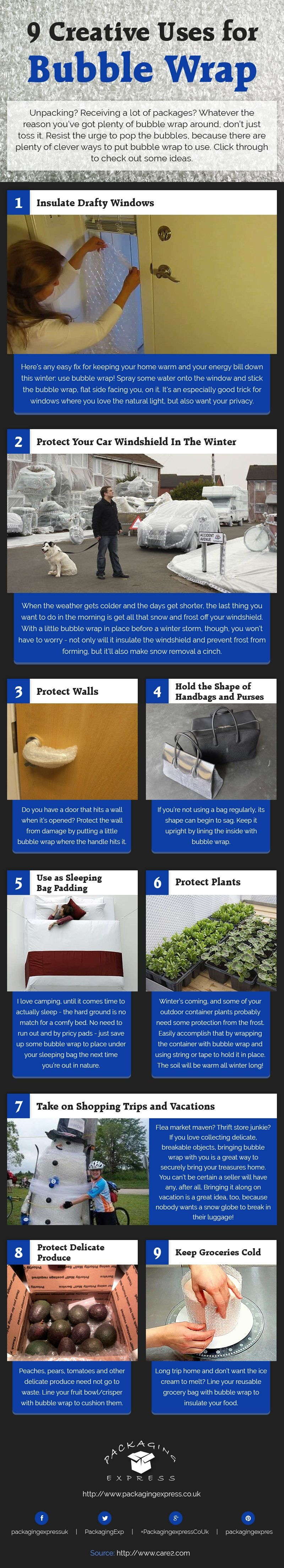 9 Creative Uses Of Bubble Wrap Infographic The Local