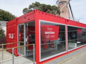 Bank office made of shipping container